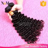 Tecelagem cambojana do cabelo humano de Remy da classe do cabelo 7A do Virgin da onda profunda da beleza