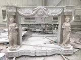 Tallado de estilo europeo clásico chimenea de mármol beige manto de sonido envolvente, chimenea de piedra de mármol