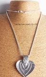 La mode à trois couches anti Argent Pendentif Coeur Collier de la chaîne de serpent