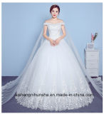 Trägerloses reizvolles Hochzeits-Kleid der Schal-Brautkleid-Prinzessin-Lace