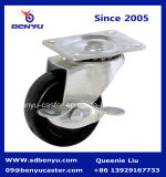 Легких черная резиновая самоустанавливающееся колесо со стороны тормоза