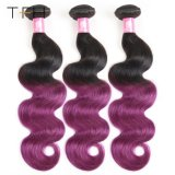 Pre-Coloed Omberカラー毛#1b/Purpleのバージンの毛の織り方は束ねる2つのカラー毛ボディ波(TFH18)を