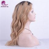 Nuevo estilo de cabello rubio natural lleno de onda larga de encaje peluca