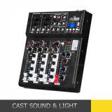 De mini Draagbare Mixer van DJ van 4 Kanaal Audio met USB Bluetooth MP3