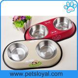 Fabricante de acero inoxidable doble cuenco Pet platos perro