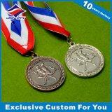 Дешевые спортивные антикварной серебряной медали с красивой ленты и 3D логотип