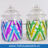 3PCS Hand Painted Glass Canisters Set
