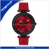 Relógio personalizado de quartzo para a senhora com a faixa do couro genuíno