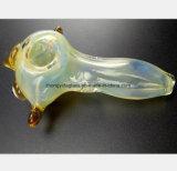 Pipe en verre jaune-clair de fumée de forme d'oiseau de pipe de fumée