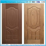 Piel de madera de la puerta del panel compuesto HDF con la chapa de madera de la cereza/de la teca