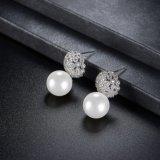 Серьга ювелирных изделий способа перлы женщины плакировкой белого золота вспомогательная белая