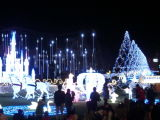 遊園地LEDの城ライトクリスマスの屋外の装飾