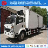 Carro usado carro del congelador del rectángulo de la refrigeración de Dongfeng 4X2 5tons