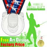 リボンが付いている卸し売りカスタム金または銀または青銅の彫版メダル