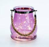 Vidrio de alta calidad de la tormenta de color púrpura linterna con mango de acero