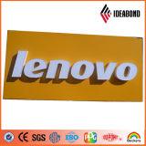 Comitato composito di alluminio di colore giallo del poliestere di marchio del negozio di Customed