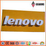 Panneau composé en aluminium de jaune de polyester de logo de système de Customed