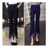 Qualitäts-reizend breites Bein keucht dünne Denim-Dame-Jeans