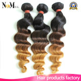 Sew na extensão frouxa brasileira do cabelo de Ombre da onda de 3 tons e o cabelo dos pacotes tece