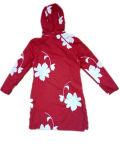 Rotes Longsleeve Hooded PVC Raincoat für Woman