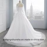 Съемная длинной втулки кружево свадебные платья использованием стекла свадебные платье