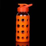 Bottiglia di bambino di vetro di corsa della bottiglia del silicone della tazza della bottiglia di acqua portatile di vetro portatile di sport