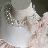 Satin d'organza de Champagne perlant la robe de petite fille