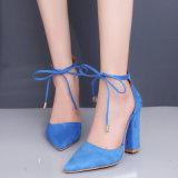 Новая сандалий женщин замши цвета крупноразмерные 35 до 43 сандалии 7 высокая пяток водоустойчивых шикарных