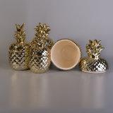 Gold Electroplated cerámica Piña vela frascos con tapas