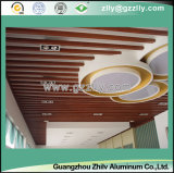 Soffitto di alluminio del deflettore di figura di legno del grano U della fabbrica per la stazione di metropolitana