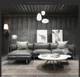 余暇の羽の革およびファブリック角のソファー