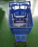 Chariot en plastique de vente chaud de chariot à achats de supermarché de luxe de Chine