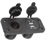 A chegada nova 12V Dual voltímetro da indicação digital do soquete do isqueiro do cigarro do USB de Moto do carro