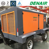 Compresseur d'air portatif diesel à deux étages de vis de 145 LPC sur des roues de pneu