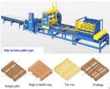 Pálete automática cheia que processa a linha de produção