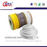Câble plat d'en cuivre d'isolation de PVC avec le fil de terre