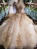 新しい到着の夜会服のレースの金のシャンペンパターンウェディングドレス
