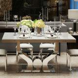 Acciaio inossidabile della Tabella elegante moderna della sala da pranzo e re di cuoio Throne Dining Chair del ristorante del Faux per il banchetto di cerimonia nuziale