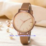 Relógio luxuoso clássico do OEM da cinta de couro da liga (WY-G17008A)