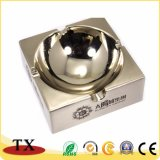Cenicero brillante del metal del color del níquel de los regalos promocionales con insignia de encargo