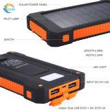 Высокая эффективность 10000mAh зарядка аккумуляторной батареи солнечная энергия банка