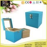 De Verpakking van de Doos van de Opslag van de Juwelen van het Leer van de Desktop van Pink&Blue van de luxe (8197)