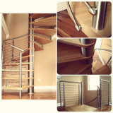Alimentação de fábrica escada em espiral com piso em madeira corrimão de Aço Inoxidável