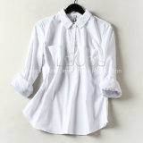 Il est pratique, chemise de blanc de coton de chemise de ressort de dames longue