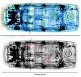 Sistema de detección del coche de la radiografía en tapa al sistema abajo de visión