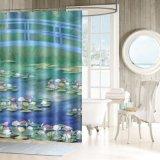 100% de poliéster Hotel Banheiro cortina do chuveiro com Rustproof ilhós metálicos
