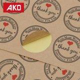 El corazón de 10 hojas le agradece envío rápido del papel revestido del papel termal de las escrituras de la etiqueta de la etiqueta engomada