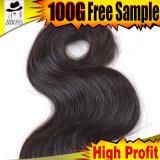 100%Virgin cheveux humains, grand cheveu brésilien de l'onde 10A