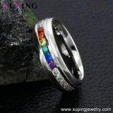 13897 El encanto de la moda de joyería anillo de acero inoxidable con coloridos Zircon