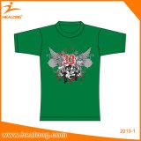 Type en gros fait sur commande de Healong et T-shirt de polyester de chemise de circuit d'impression personnalisé par tissu